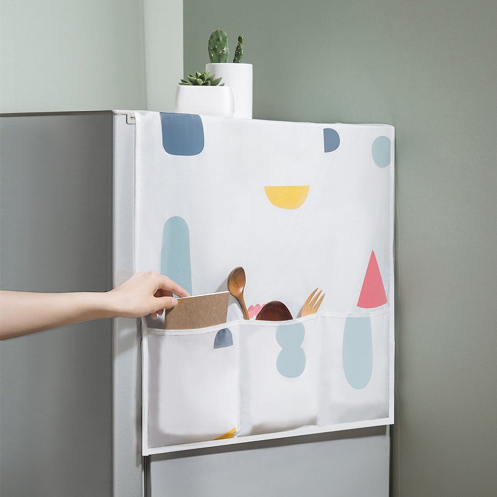 Waterproof Refrigerator Cover Cloth Dust Cover Household Freezer Top Hanging Bag Refrigerator Set Storage Bag image