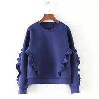Özel Tasarımcı Tarzı Moda Dantel-up kadın Uzay Pamuk Tişörtü Mavi Renk Kızlar Trendy Hoodies