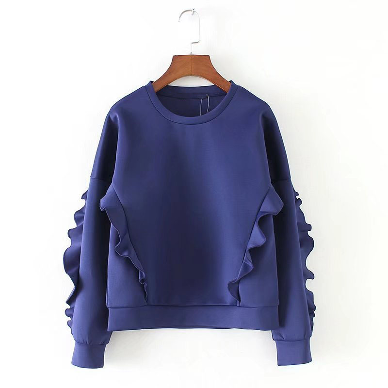 Exclusive Designer Style Fashion Lace-up Womens Space Cotton Sweatshirts Blue Color Girls Trendy Hoodies