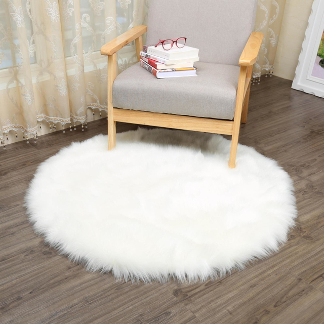 WCIC Imitation Wool Chair Carpet Round Fluffy Rugs Seat Pad Washable Warm  Round Table Imitation Wool