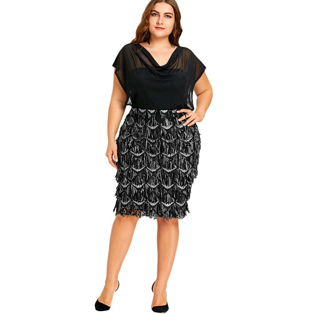 Gamiss Party Kleid Plus Größe Sheer Pailletten Bodycon Büroarbeit ...