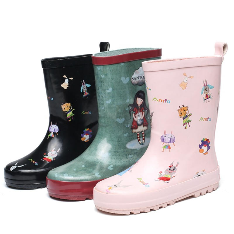 2019 New Children's High-grade Pink Black Camouflage Color Boys And Girls Rubber Boots Shoes EU Size 23-36