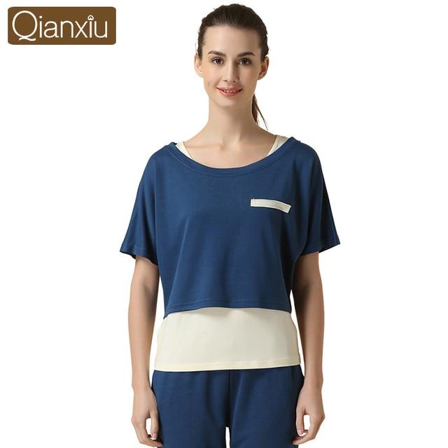Qianxiu Conjunto de Pijama de las mujeres de Punto Modal Lounge wear Patchwork ropa de Dormir Tres piezas Pijamas