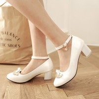Women Fashion Shoes Female Sweet Bow Rhinestone Crown Wedding Shoes Ladies Shallow Pointed All Match Prom Pumps Plus Size 42 43