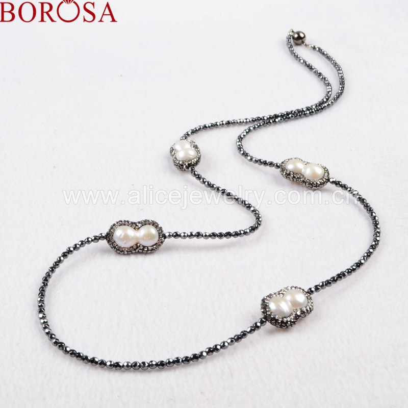 BOROSA Four Peanut Shape Natural Pearl Beads Necklace Paved Zircon Black Chain With Magnet Clasp 30'' Necklace JAB202