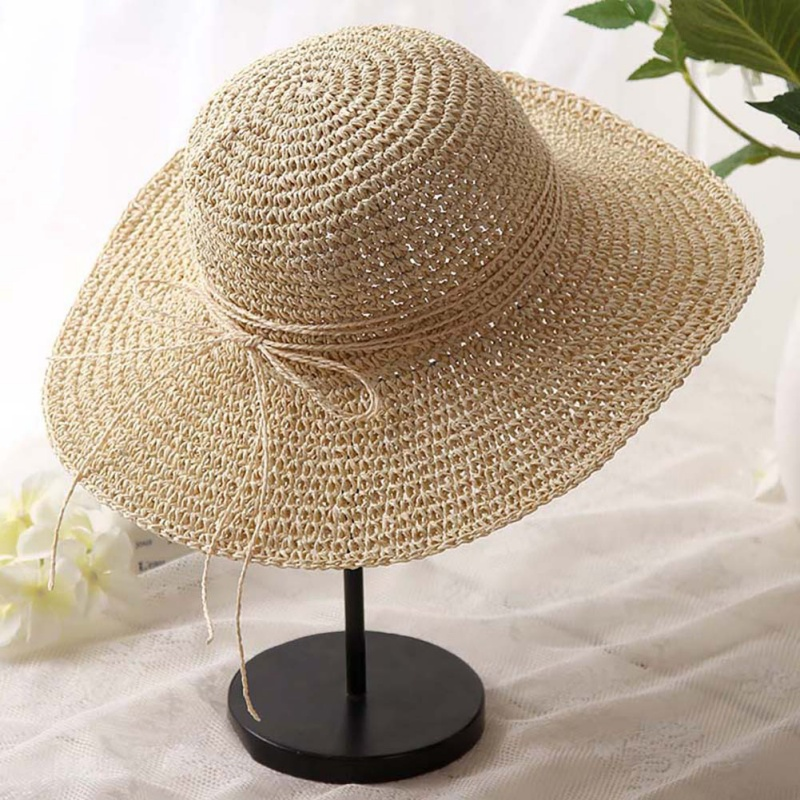 Style Straw Sun Hat Pastoral Style Wide Brim Anti-UV Sunshade Lightweight Folding Portable Beach Cap For Travel Hiking