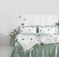 Высокое качество 4 шт. постельных принадлежностей Вышитые кактус вишня тенсель мягкие и удобные постельные принадлежности queen king size постель