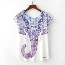 KaiTingu Summer Novelty Women T Shirt Harajuku Kawaii Cute Style Elephant Print T-shirt Short Sleeve O-neck Tops Size M L XL