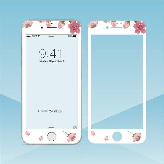 Fleurs beau verre trempé pour iPhone XS MAX XR 6s 8 7plus protecteur décran bord souple Film de protection pour iPhone 11 Pro Max