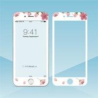 Protector de pantalla de cristal templado con flores para iPhone, película protectora de borde suave para iPhone XS MAX XR 6s 8 7plus, 11 Pro Max