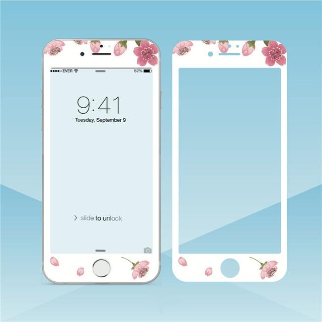 Hoa Đáng Yêu Kính Cường Lực Cho iPhone XS Max XR 6S 8 7Plus Tấm Bảo Vệ Màn Hình Viền Mềm Màng Bảo Vệ cho Iphone 11 Pro Max