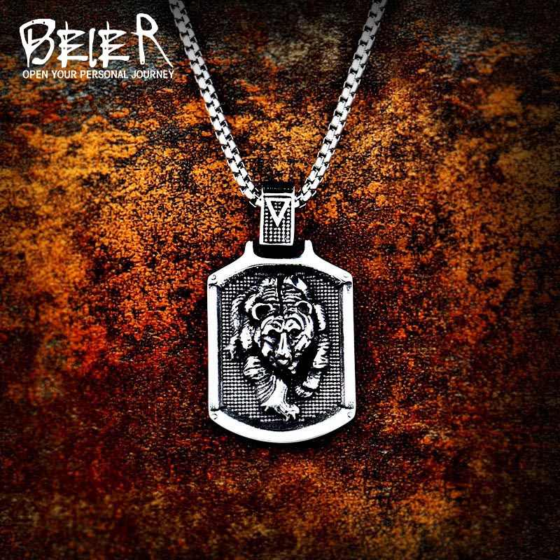 Beier 316L stainless steel Odin Bear Paw head Amulet nose Viking necklace pendant Men gift  Fashion Pagan animal Jewelry LP413