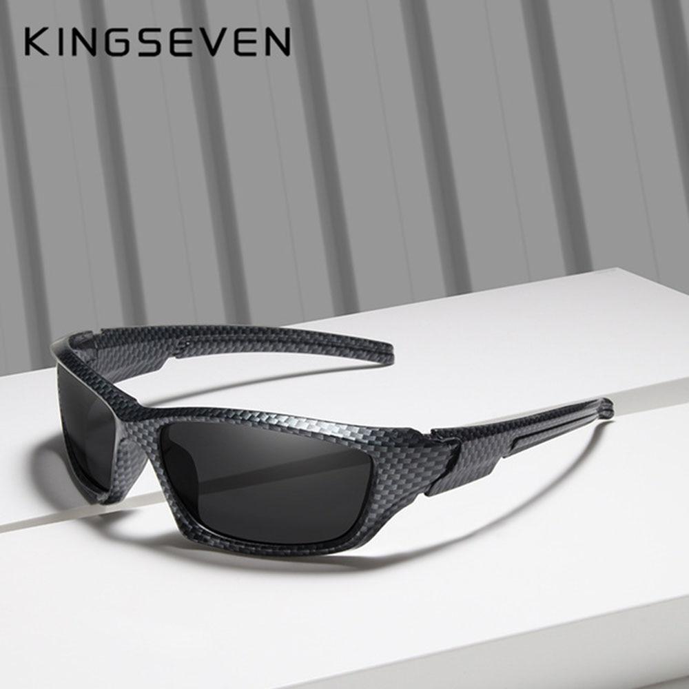 Мужские солнцезащ. Очки в оправе KINGSEVEN, черно-красные солнцезащитные очки в оправе из углеродного волокна с поляризованными линзами TR90, лето...