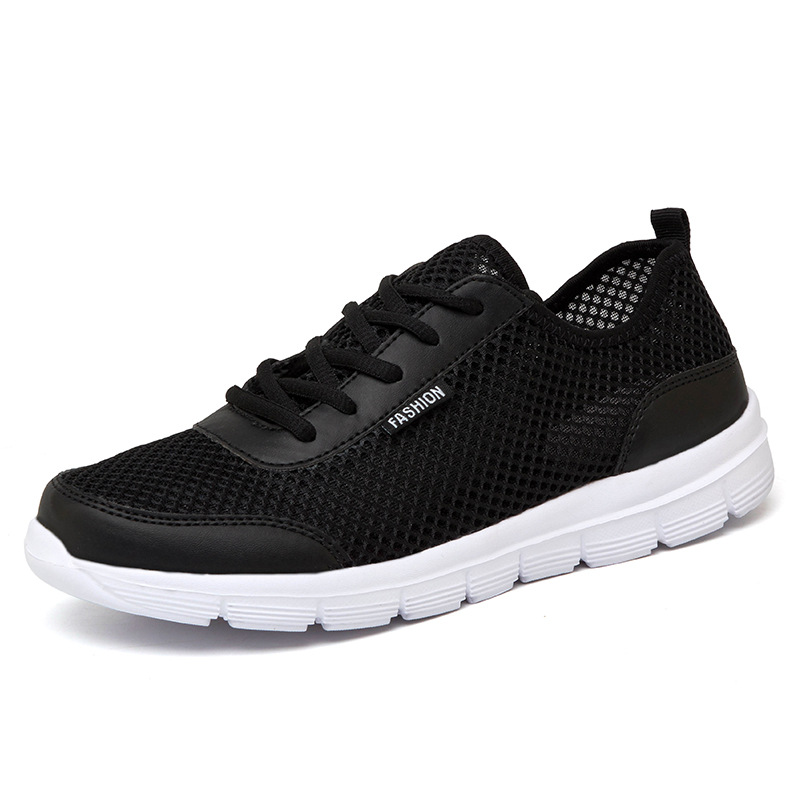 2019 Men Shoes Summer Sneakers Breathable Casual Shoes Couple Lover Fashion Lace up Mens Mesh Flats Shoe Big Plus Size 35-48