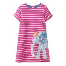 Girls Baby Princess Dress for Kids Cartoon Animals Printed Stripes Children Clothes Floral