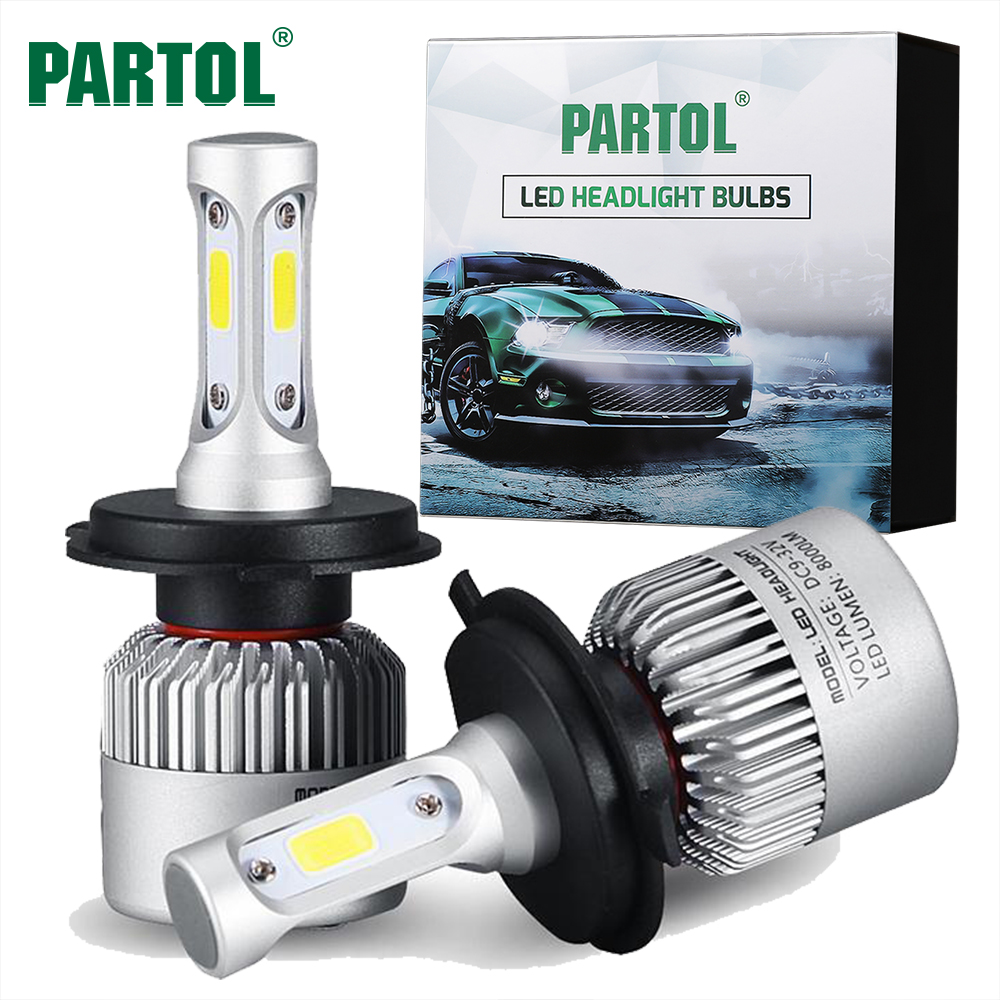 Partol S2 H4 H7 H13 H11 H1 9005 9006 H3 9004 9007 9012 COB LED Headlight 72W 8000LM Car LED Headlights Bulb Fog Light 6500K 12V led h4 h7 h11 h1 h10 hb3 h13 h3 9004 9005 9006 9007 cob led car headlight bulb 80w 8000lm 6000k auto headlamp 200m light range
