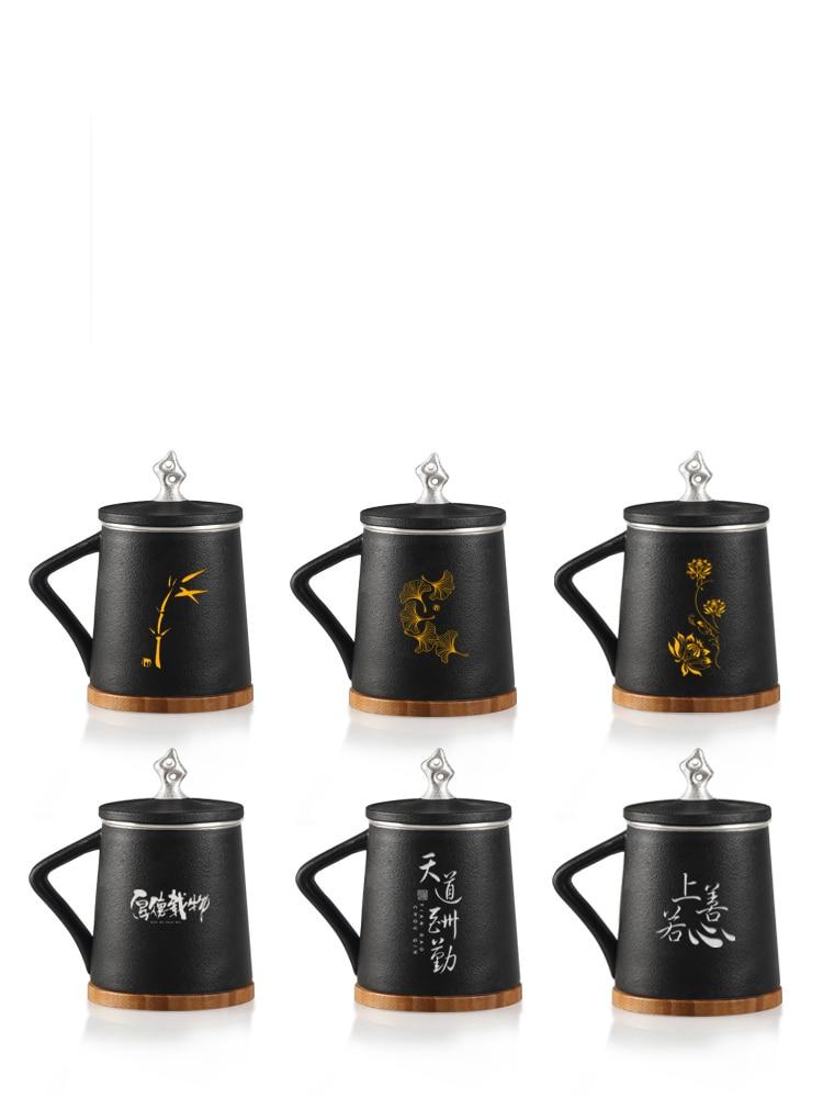 TANGPIN 999 silber und keramik tee becher mit filter schwarz chinesischen kung fu tasse 310 ml - 4