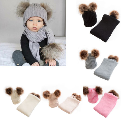Lovely 2pcs Kids Toddler Girls Boys Baby Double Ball Winter Warmer Hat+Scarf Crochet Knitted Baby Hat Beanie Cap Scarf