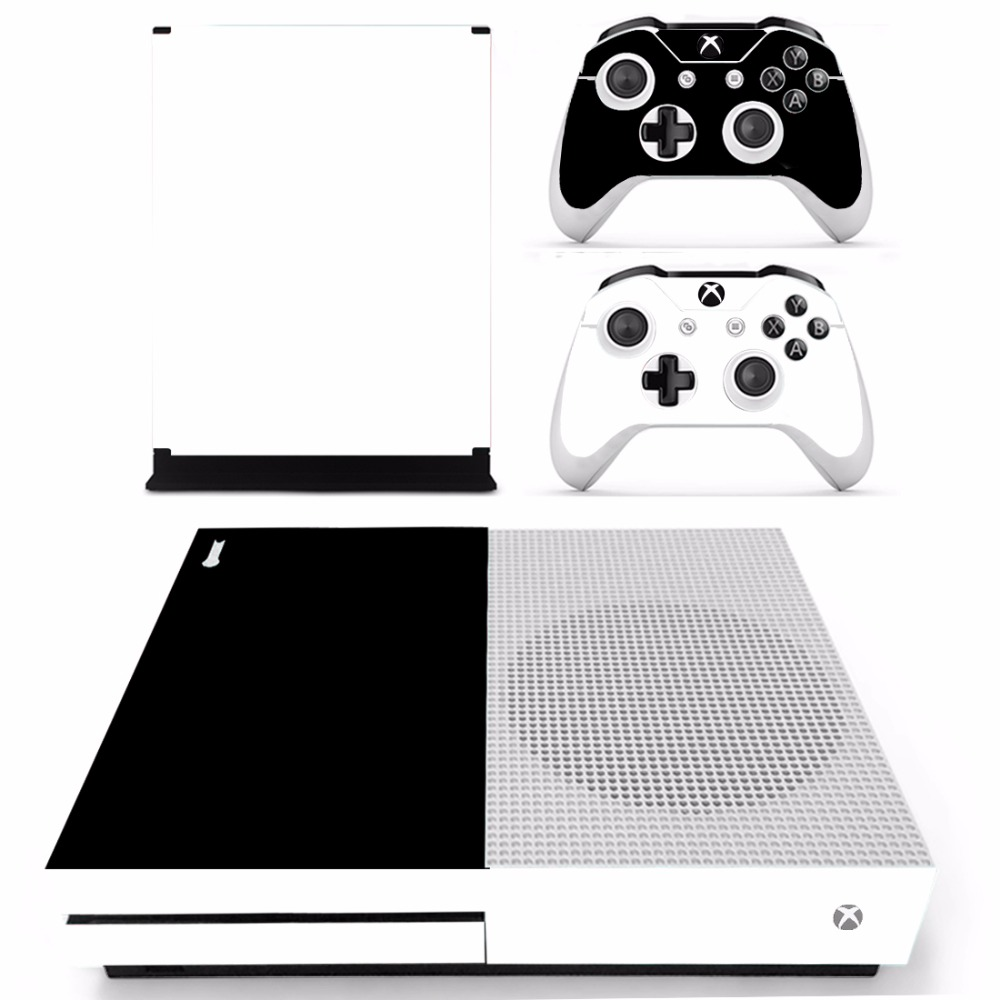 White Black Vinyl Skin Sticker Protector for Microsoft Xbox One SLIM and 2 controller skins Stickers for XBOXONE S