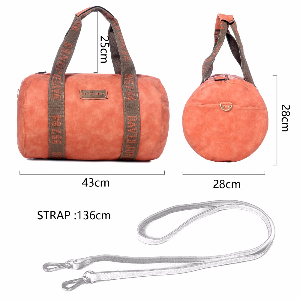 67a604dee8 DAVIDJONES Women style Travle Bags PU leather Messenger Bag Solid Bucket Bag  Large Femme Beach Sacs de voyages PortfelBolsa-in Travel Bags from Luggage  ...