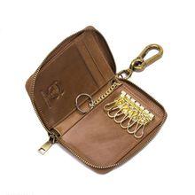 Women Men Genuine Leather Car Keychain Card Holder Wallet Case Key Organizer Bag keyring