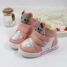 Enfants de bottes d'hiver nouvelle mode 2016 Fille PU neige marque de bande dessinée sneakers enfants étanche en caoutchouc chaussures botas infantis