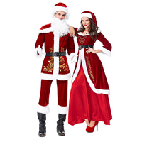 Corzzet Santa Claus And Sexy Girls Costume For Men Women Cosplay Full Sets Red Adult Burlesque Christmas Clothing