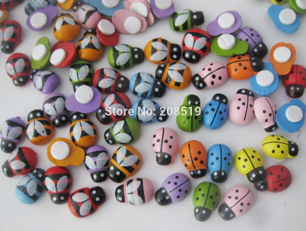 WBNONL adhesive Bees and Ladybird Assorted wooden flatback buttons mix 150pcs DIY scrapbook clip accessories