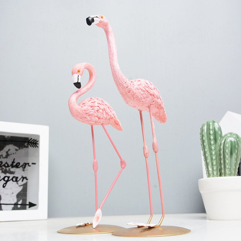 High Quality Resin Pink Flamingo Decor For Home Decoration Accessories Sculpture Figurine Gifts Wedding Supplies Home Decor (3)