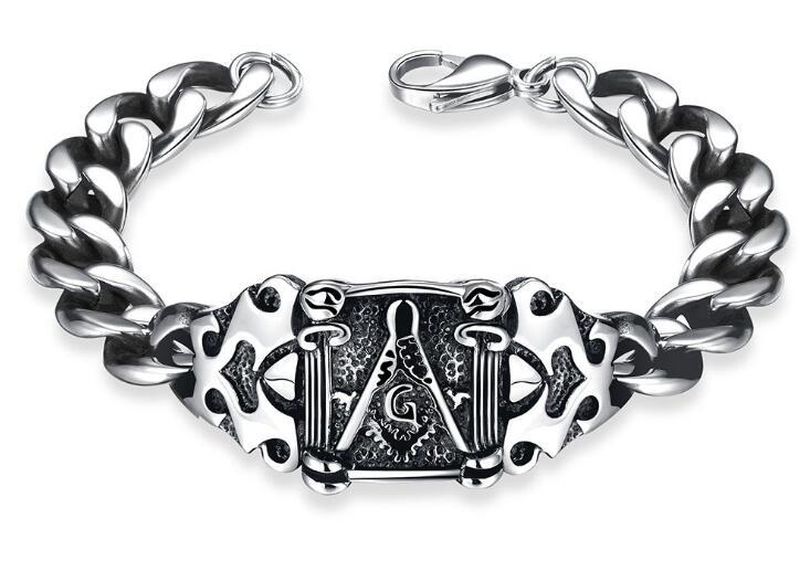 Freemason Titanium Bracelet Vintage Silver Black Chain Wristband Masonic Bracelet Free Mason Fashion Jewelry Accessory Gift