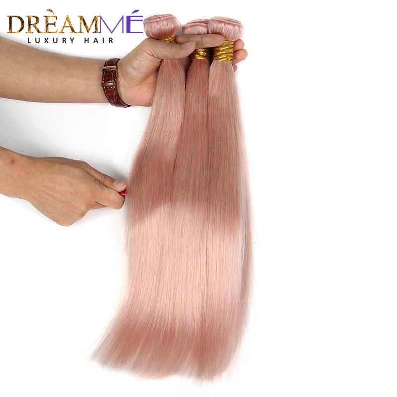 Dreaming Queen Hair Solid Pink Ombre Brasilian Straight Human Hair - Menneskehår (sort) - Foto 2