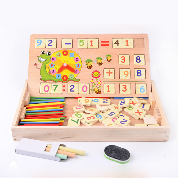 Chanycore Learning Educational Wooden Arithmetic Toys Box Digital Number Math Blocks Sticks Clock Blackboard Kids Gifts 4018
