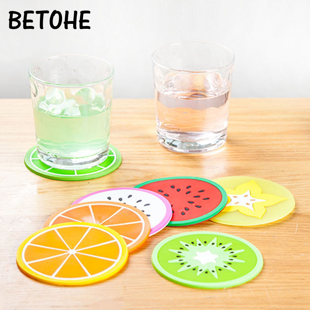 Household 6pcs/lot Colorful Jelly Color Fruit Shape Coasters Creative Skid Insulation Cute Silica Gel Cup Mat Free Shipping