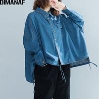DIMANAF Women Jackets Coat Plus Size Autumn Denim Batwing Sleeve Cardigan Cotton Female Clothes Loose Oversized Outerwear 2018