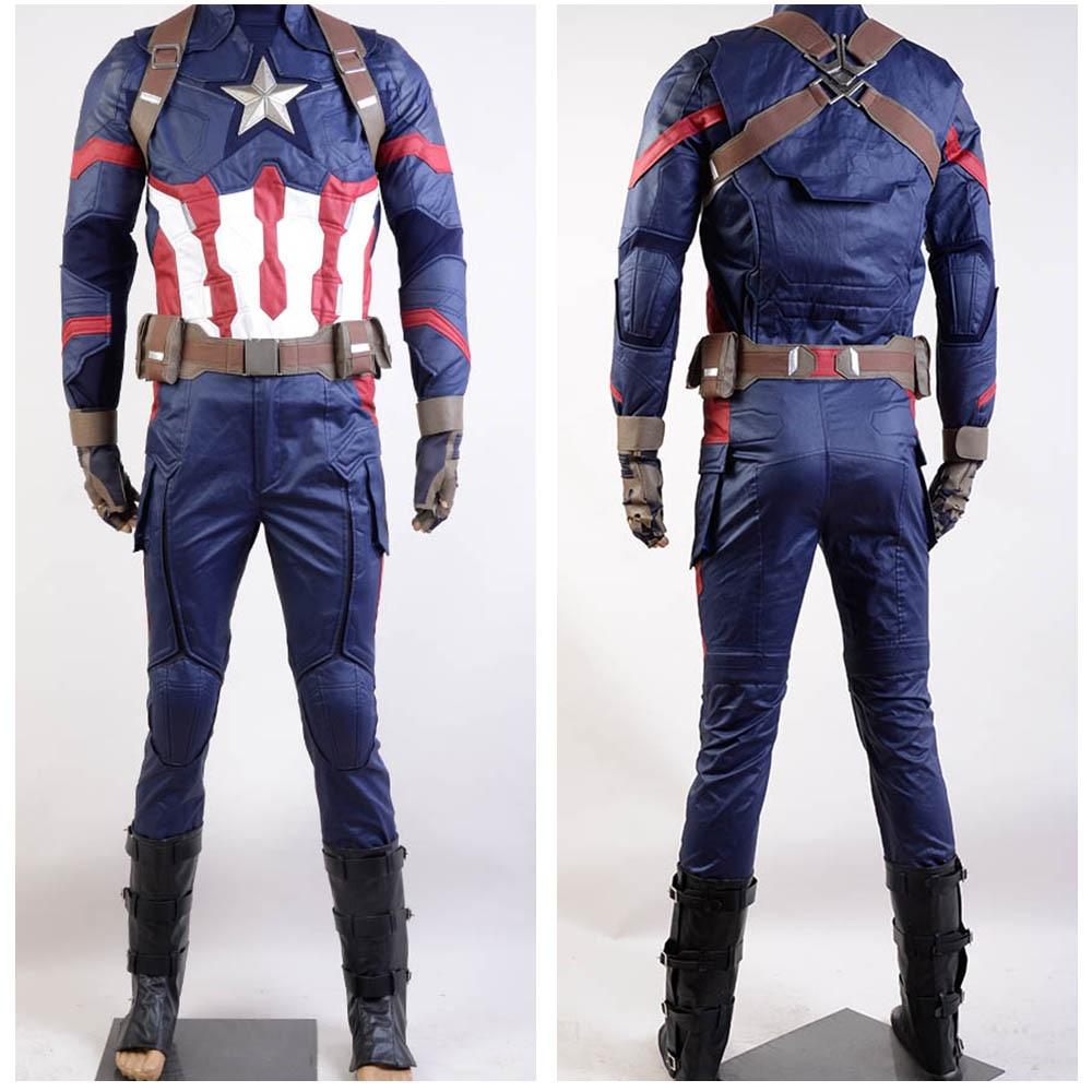Marvel The Avengers Civil War Captain America Cosplay Costume Steve Rogers Halloween Outfits Adult Superhero Men Costume Sets