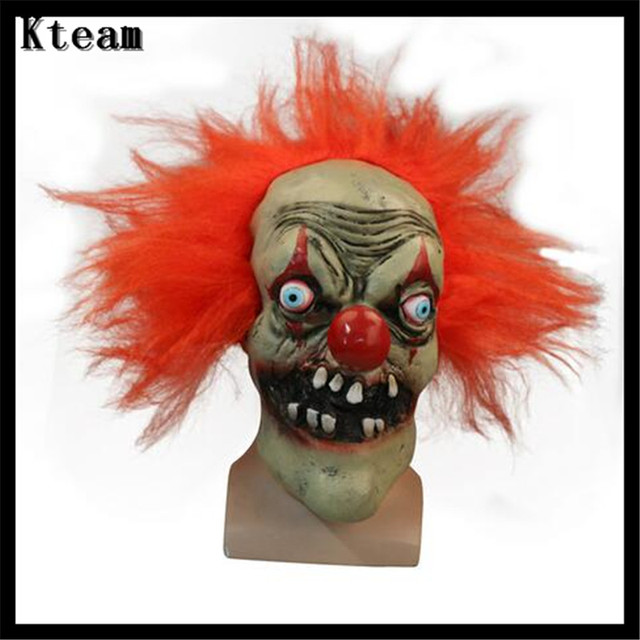 Top Grade 100% Latex Funny Scary Clown Mask Pennywise Halloween ...