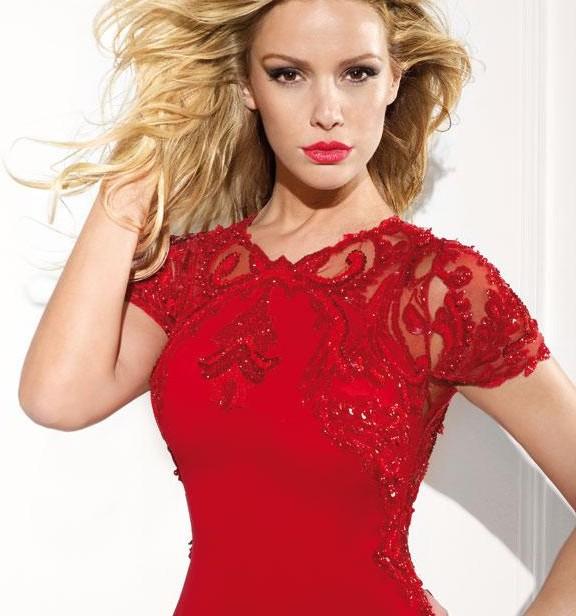 Формалей ну вечеринку театрализованное пром платья вечернее платье с с круглым вырезом короткий рукав красный с низким вырезом на спине русалка вышивка бисером шифон пром платья - Цвет: Красный