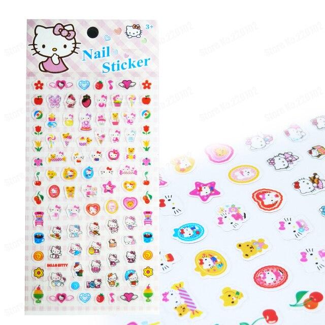 Children KT Cat Nail Sticker PVC Nail Art Stickers Decals Kids Gift ...