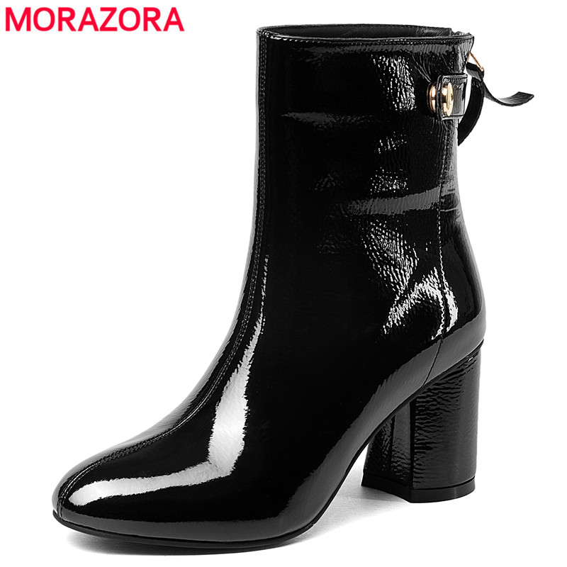 MORAZORA Hot sale genuine leather boots square high heels autumn winter ankle boots for women zip female motorcycle boots shoes цена