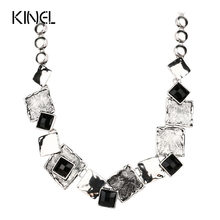 Fashion Statement Necklace 2016 Punk Color Silver Mosaic Black Big Chunky Necklace For Women Famous Brand Jewelry(China)