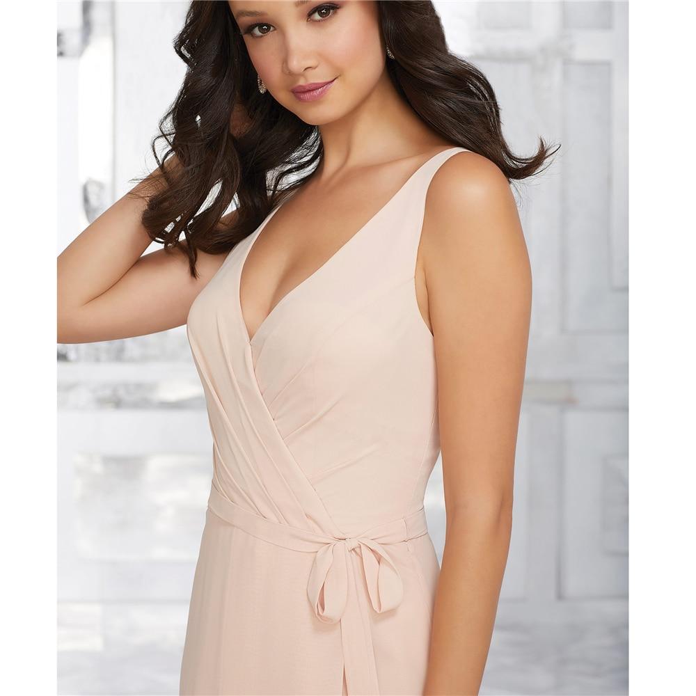 A-Line V-neck Pleat Chiffon Full-Length Pink Vintage Custom-Made   Bridesmaid     Dresses   Wedding Guest   Dresses   2019