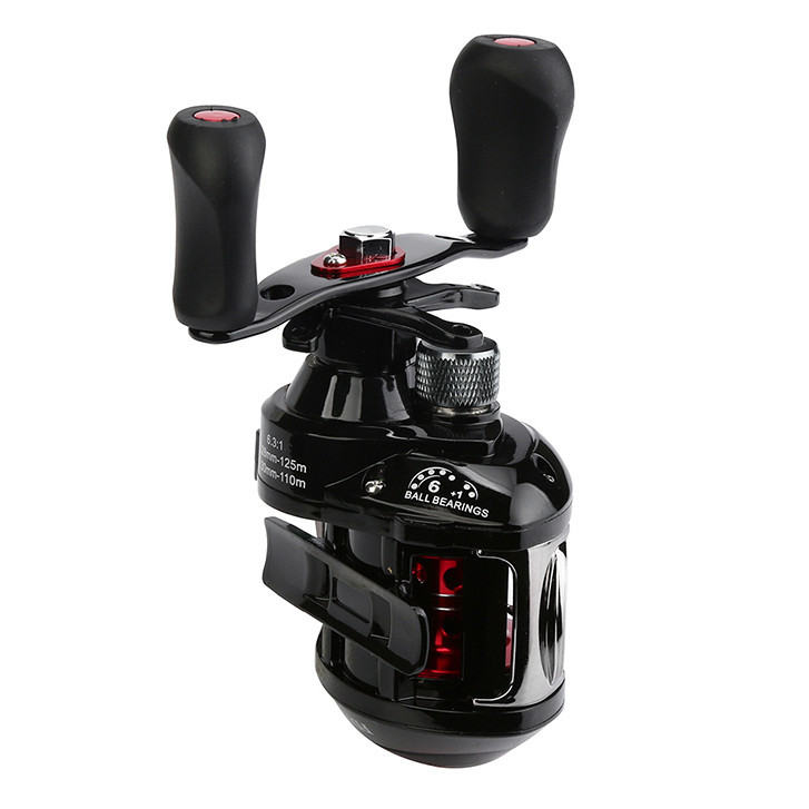 USPS Right or Left Reel Bait Casting Fishing Reel Magnetic and Centrifugal Dual Brake LG-200 6 + 1 Bearing Black Fishing Reel #1