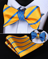 BE03Y Yellow Blue Stripe 100%Silk Double Sided Woven Men Butterfly Self Bow Tie BowTie Pocket Square Handkerchief Hanky Suit Set