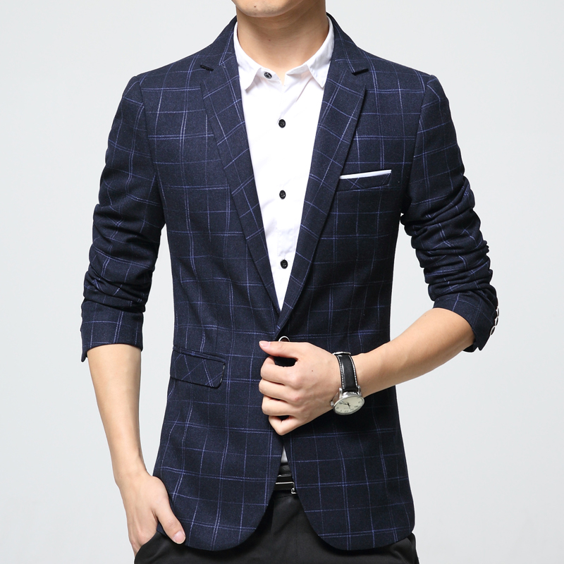 Aliexpress.com : Buy Mens plaid blazer cotton mixed casual coat ...