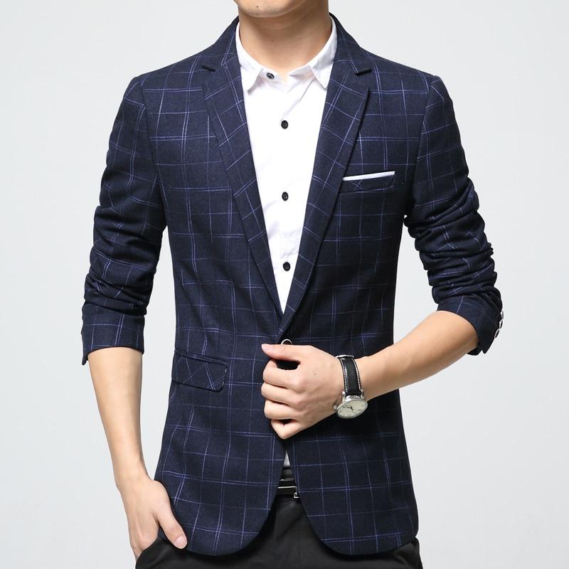 Mężczyzna plaid blezer bawełna mieszane casual płaszcz slim fit - Odzież męska - Zdjęcie 3