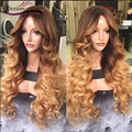 #4/#27 Ombre Human Hair Wigs Two Tone Ombre Body Wave Full Lace Wigs 180% Glueless Front Lace Wigs With Combs And Strap