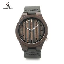 BOBO BIRD En Bois Quartz Montres Casual Mode En Cuir Bois Montre reloj masculino Hommes Montre En Bois Montre-Bracelet B13