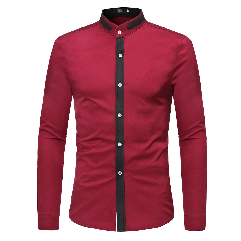 Frühling Farbe Passende Casual Abend Business Long Sleeve Einfache Hemd Stehen Kragen Die Neueste Mode
