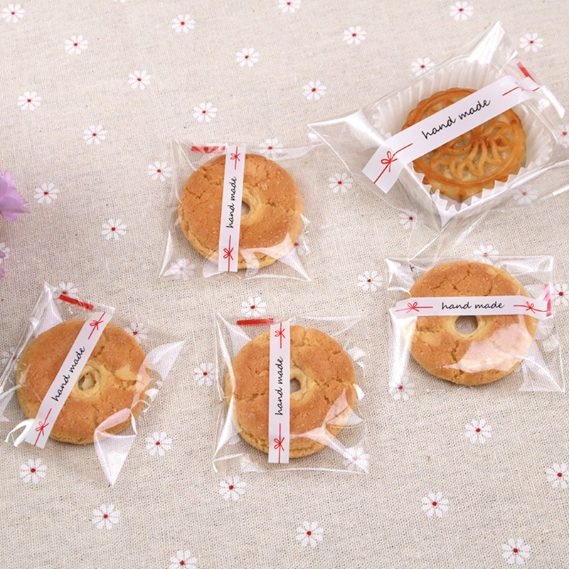 100pcs/lot Hand Made 7*7cm/10*10cm Adhesive Bag Cookies Diy Gift Bag For Christmas Party Candy Food&Handmade Soap Packaging Bags