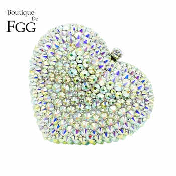 Boutique De FGG Silver AB Women Heart Crystal Evening Clutch Bags with Spikes Bridal Handbag Wedding Party Minaudiere Purse - DISCOUNT ITEM  50% OFF All Category